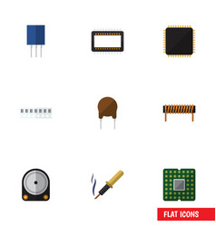 Flat icon device set of mainframe bobbin memory vector