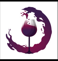 glass splashing with bubble of wine icon vector image vector image