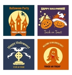 Halloween party flat posters vector