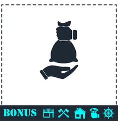 Hand giving money bag to another hand icon flat vector image vector image