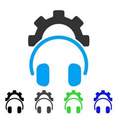 Headphones configuration gear flat icon vector