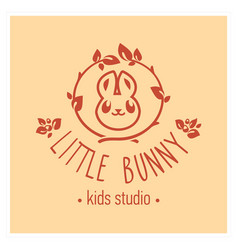 kids club logo with bunny cute kindergarten sign vector image