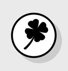 Leaf clover sign flat black icon in white vector