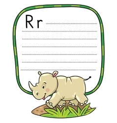 Little rhino for ABC Alphabet R vector image vector image