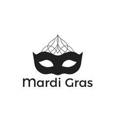mardi gras black mask on white background vector image
