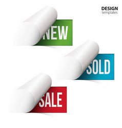 New sold sale on bent paper vector image