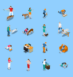 people with pets set vector image
