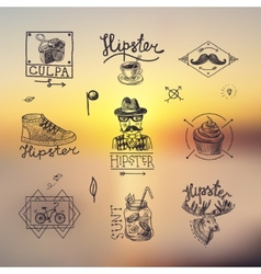 Set of hipster emblems vector image
