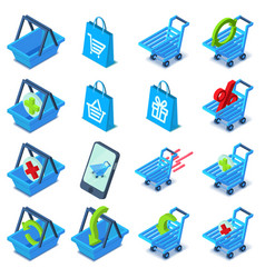 shopping cart icons set isometric style vector image vector image