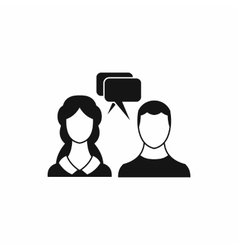 Speech bubbles with two faces icon simple style vector