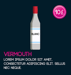 vermouth card template with price and flat vector image vector image