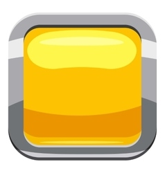 Yellow square button icon cartoon style vector