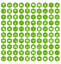 100 police icons hexagon green vector