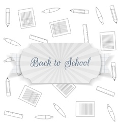 Back to school text on badge with ribbon vector