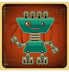 Card in retro style with the robot vector