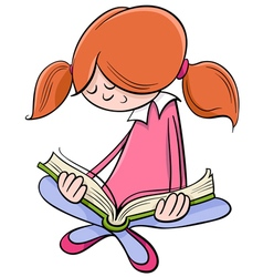 Girl reading book cartoon vector