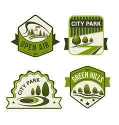 City park green icons set vector