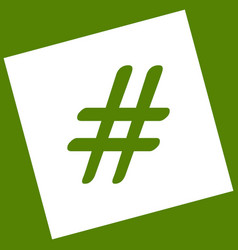 hashtag sign   white icon vector image