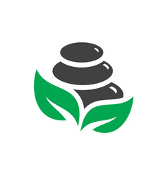 Black spa stones with green leaves logo design vector