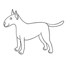 Cute cartoon bullterrier isolated on white vector