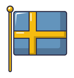 Flag of sweden icon cartoon style vector