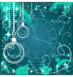 green Christmas background with clock vector image
