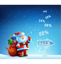 Santa claus with a bag of gifts in hurry to sell vector
