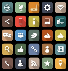 Network flat icons with long shadow vector image