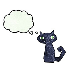 Cartoon black cat with thought bubble vector