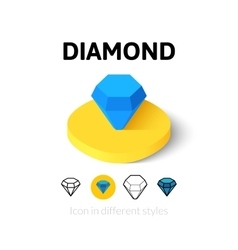 Diamond icon in different style vector