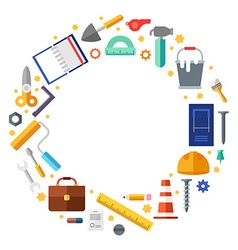Builder tools in the shape of circle in flat vector