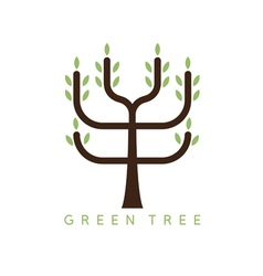 Abstract icon design template of green tree vector