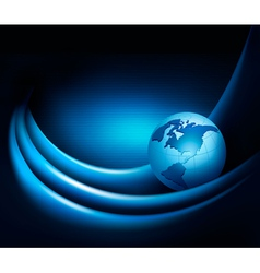 Blue neon abstract background with globe vector