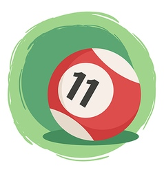 Billiard Ball Number 11 Striped Red vector image