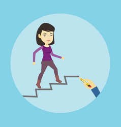 business woman running up the career ladder vector image