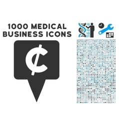 Cent map pointer icon with 1000 medical business vector