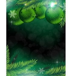 Christmas decorations on a green background vector