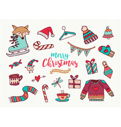 christmas new year cute holiday cartoon collection vector image