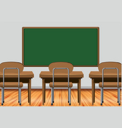 Classroom scene with desks and blackboard vector