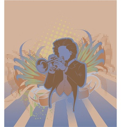 Concert poster with trumpet player vector