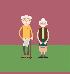 Elderly couple - old man and old woman stand vector