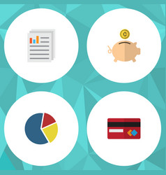 Flat icon incoming set of graph payment money vector