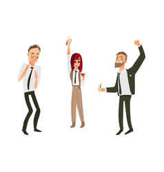 Flat office workers people dancing vector