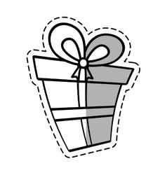 Gift box ribbon wedding present linea shadow vector