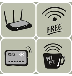 Hand drawn wifi icons vector
