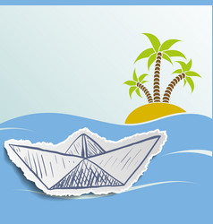 Island with palm trees in the ocean vector