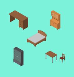 Isometric design set of table sideboard cupboard vector