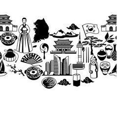 Korea seamless pattern korean traditional symbols vector