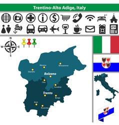 Map of Trentino Alto Adige vector image vector image