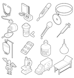 Medical icons set isometric outine style vector